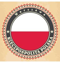 Vintage label cards of poland flag vector