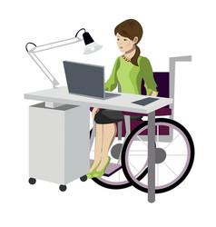 young woman in wheelchair working with computer vector image vector image