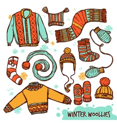 Winter warm knitted clothes color set vector