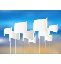 White flags on sky background vector image