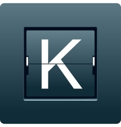 Letter k from mechanical scoreboard vector