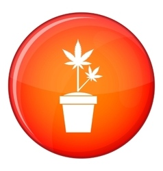 Hemp in pot icon flat style vector