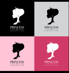 Princess logo set vector