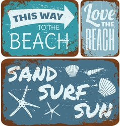 Old Rusty Beach Tin Signs Collection vector image