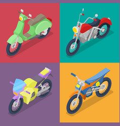 Isometric motorcycle set with motocross vector