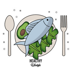 White background of healthy lifestyle with cutlery vector