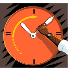 clock and human hand vector image