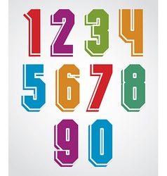Colorful decorative geometric numbers with white vector