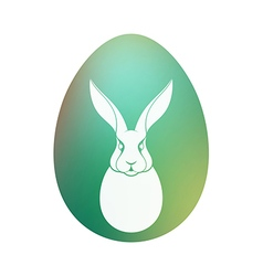 Easter bunny green egg vector