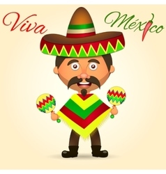 Mexican in a sombrero vector