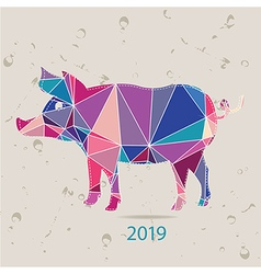 The 2019 new year card with Pig made of triangles vector image