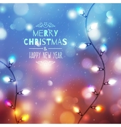 christmas background with garland vector image vector image