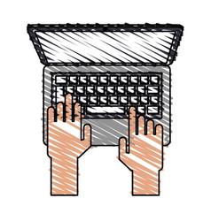 Color crayon stripe cartoon top view hands typing vector