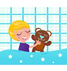 cute sleeping boy teddy bear vector image