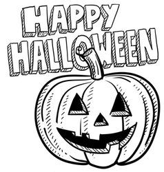 doodle happy halloween jack o lantern pumpkin vector image