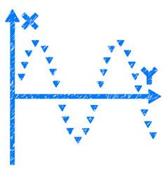 Dotted sine plot grunge icon vector