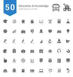 Education and knowledge solid icon set vector