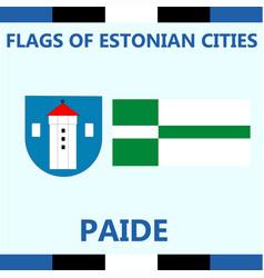Flag of estonian city paide vector
