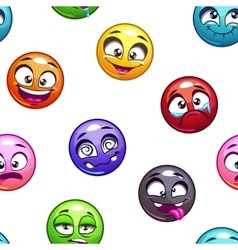 Funny cartoon comic round faces pattern vector image vector image