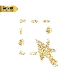 Gold glitter icon of mouse cursor isolated vector