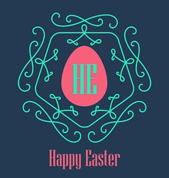 Happy Easter - festive card with monogram style vector image vector image