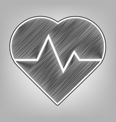 Heartbeat sign pencil sketch vector