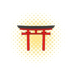 Japan gate icon in comics style vector