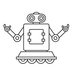 Machine robot on wheels icon outline style vector