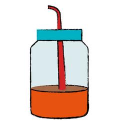 Mason jar with beverage vector