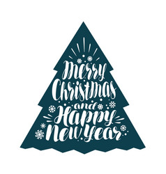 merry christmas and happy new year handwritten vector image vector image