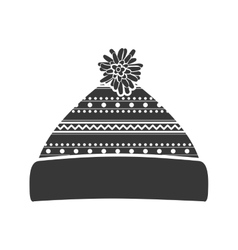 Monochrome silhouette with christmas woolen hat vector