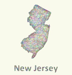 New Jersey line art map vector image