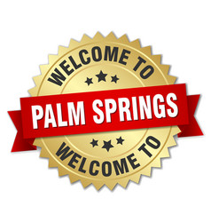 Palm springs 3d gold badge with red ribbon vector