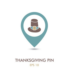 pilgrim hat mapping pin icon thanksgiving vector image