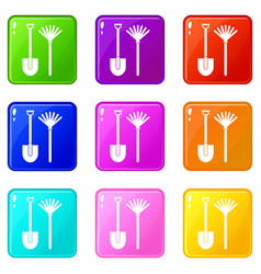 Rake and shovel icons 9 set vector