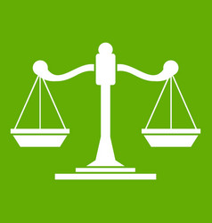 scales of justice icon green vector image vector image