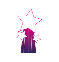 Silhouette shiny stars design with rainbow icon vector