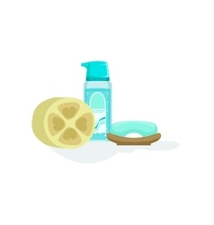 Skin Cleansing Soap And Lotion And A Natural vector image vector image