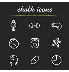 Sport chalk icons set vector