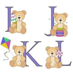 Teddy bear alphabet i j k l with vector