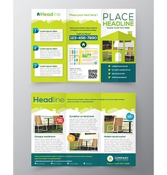 Tri fold real estate brochure flyer template vector