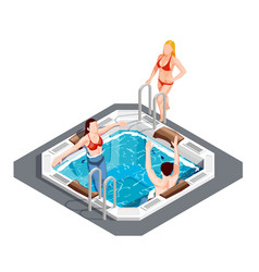 Water park isometric set vector