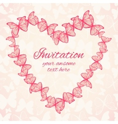 Wedding or invitation card template with heart vector image