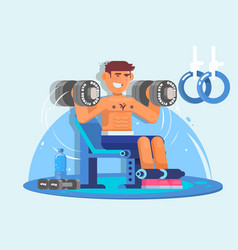 Weightlifter training with dumbbell flat style vector
