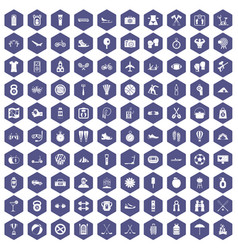 100 active life icons hexagon purple vector