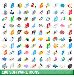 100 software icons set isometric 3d style vector image