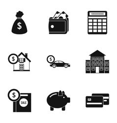 Cash icons set simple style vector