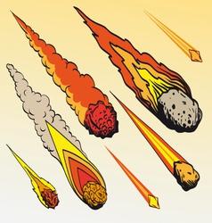 Set of meteorites vector image