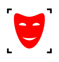 Comedy theatrical masks red icon inside vector