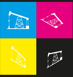 Oil drilling rig sign  white icon with vector